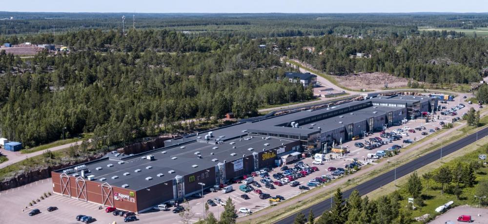 Maxinge köpcentrum fotat från luften